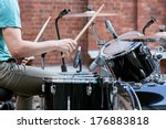 Young Drummer Playing At Drums...