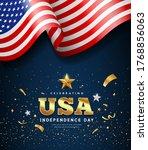 american flag waving ... | Shutterstock .eps vector #1768856063