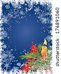 christmas card with candle and... | Shutterstock . vector #176891060