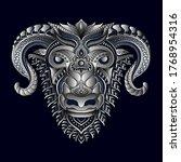 stylized goat in ethnic vector... | Shutterstock .eps vector #1768954316
