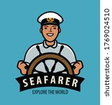 sea captain with ship steering... | Shutterstock .eps vector #1769024510