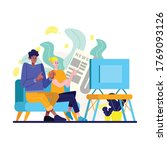 men and woman watching news on... | Shutterstock .eps vector #1769093126