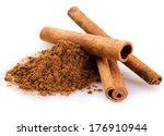 cinnamon sticks with powder... | Shutterstock . vector #176910944