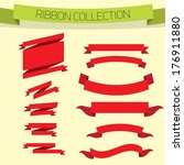 set of retro red ribbons and... | Shutterstock .eps vector #176911880