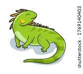 Iguana Cartoon Illustration...