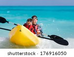 father and son kayaking at...   Shutterstock . vector #176916050