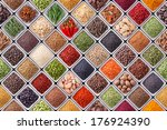 seamless texture with spices... | Shutterstock . vector #176924390