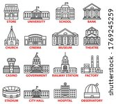 government buildings icons set. ... | Shutterstock .eps vector #1769245259