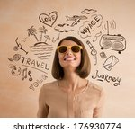 positive smiling woman wearing... | Shutterstock . vector #176930774