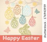 happy easter card | Shutterstock .eps vector #176943959