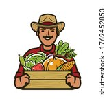 farmer with box of fresh... | Shutterstock .eps vector #1769452853