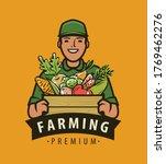 farmer with box of fresh... | Shutterstock .eps vector #1769462276