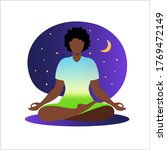 African Woman Meditating With...