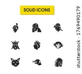avatar icons set with queen ...