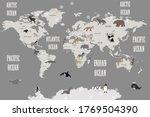 animals world map for kids... | Shutterstock . vector #1769504390