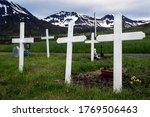 Five White Crosses In A Typica...