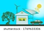 smart home  solar panel  ecology | Shutterstock .eps vector #1769633306