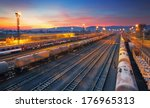 cargo freigt train railroad... | Shutterstock . vector #176965313