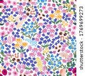 trendy floral pattern on white... | Shutterstock .eps vector #1769699273