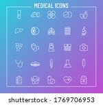 medical outline vector icons on ...