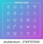 christmas outline vector icons...