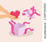 unpacking a gift and hand carry ... | Shutterstock .eps vector #1769754593