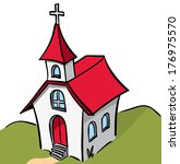 white and red roof church | Shutterstock .eps vector #176975570