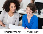 two smiling businesswomen... | Shutterstock . vector #176981489
