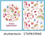 magic cute unicorn greeting... | Shutterstock .eps vector #1769819060