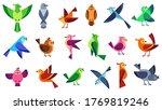 Flat Birds. Flying Chickadees...