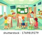 kids drawing in art class.... | Shutterstock .eps vector #1769819279