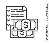 budget black line icon. report...