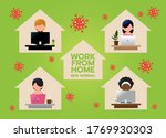 work from home concept   with a ... | Shutterstock .eps vector #1769930303