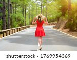woman in red dress and hat... | Shutterstock . vector #1769954369