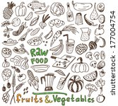 natural food doodles | Shutterstock .eps vector #177004754