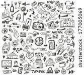 travel   big doodles set | Shutterstock .eps vector #177005069