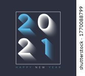 2021 new year card with shadow... | Shutterstock .eps vector #1770088799