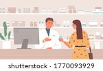smiling male pharmacist... | Shutterstock .eps vector #1770093929