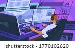 gamer boy playing online... | Shutterstock .eps vector #1770102620