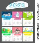 Cartoon Calendar 2021 Year....