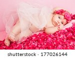 little princess with a crown of ... | Shutterstock . vector #177026144