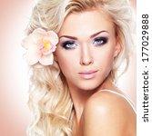closeup face of a beautiful... | Shutterstock . vector #177029888