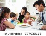 asian family having breakfast... | Shutterstock . vector #177030113