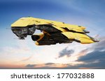 Science fiction scene of a futuristic ship flying through the atmosphere, 3d digitally rendered illustration  - stock photo