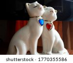 Porcelain Figurine Two Cats In...
