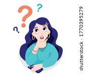 thoughtful girl  mentally asks... | Shutterstock .eps vector #1770395279
