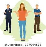 woman choosing between two men | Shutterstock .eps vector #177044618