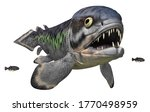 Prehistoric fish Rhizodus isolated on white background Computer generated 3D illustration