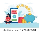 cashback concept   woman with...   Shutterstock .eps vector #1770500510