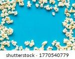 Popcorn Mockup On Blue...